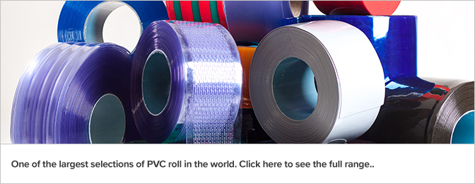 Rolls of plastic strip curtains